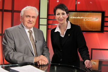 Lisa Wiseman with Dale Goldhawk on the set of Goldhawk Live