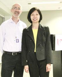 Malcolm Marcus and Pharmacist Greta Mah at the Parkinson Society