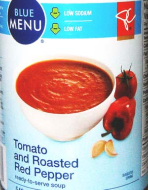 Blue Menu Tomato and Roasted Red Pepper low sodium soup