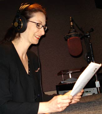 Lisa Wiseman, President of Eldercare Home Health recording at one of the Classical 96.3 radio studios