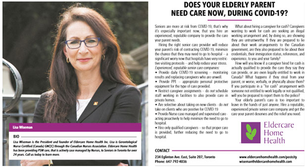 Post magazine ad re arranging senior care during COVID